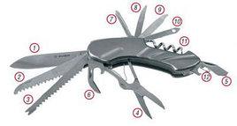 """Нож ЗУБР """"МАСТЕР"""" складной многофункциональный, """"12 в 1"""", металлическая рукоятка"""