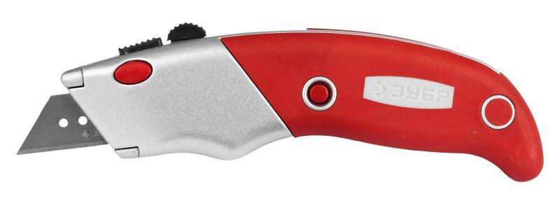 """Нож ЗУБР """"ЭКСПЕРТ"""" с трапециевидным лезвием тип А24, автомат. фиксация лезвия, метал. корпус, кассета для хран. лезвий"""