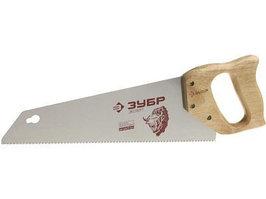 """Ножовка ЗУБР """"ЭКСПЕРТ"""" для тонкого пиления, прямой мелкий закаленный зуб, деревянная ручка, шаг зуба 2, 3мм, 350мм"""
