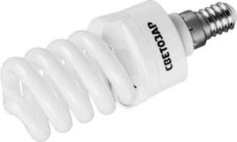 "Энергосберегающая лампа СВЕТОЗАР ""КОМПАКТ"" спираль, цоколь E14(миньон), Т2, теплый белый свет(2700 К), 10000час, 9Вт(45)"