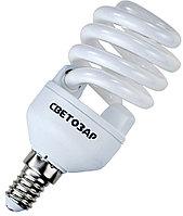 "Энергосберегающая лампа СВЕТОЗАР ""КОМПАКТ"" спираль, цоколь E14(миньон), Т2, теплый белый свет(2700 К), 10000час, 15Вт(75)"