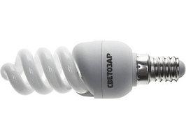 "Энергосберегающая лампа СВЕТОЗАР ""КОМПАКТ"" спираль, цоколь E14(миньон), Т2, яркий белый свет(4000 К), 10000 час, 9Вт(45)"