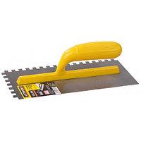 """Гладилка STAYER """"MASTER"""" стальная с пластмассовой ручкой, зубчатая, 6х6мм, 120х280мм"""