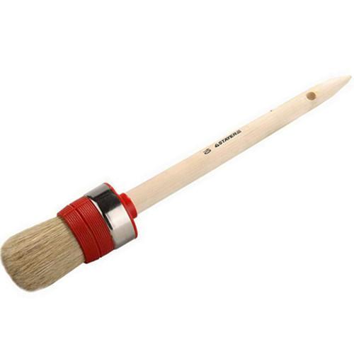"""Кисть круглая STAYER """"UNIVERSAL-EURO"""", светлая натур. щетина, метал. корпус, нитевой бандаж, деревян. ручка, №4 x 25мм"""