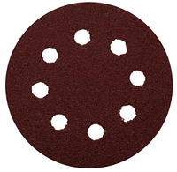 """Круг шлифовальный ЗУБР """"МАСТЕР"""" универсальный, из абразивной бумаги на велкро основе, 8 отверстий, Р80, 125мм, 5шт"""