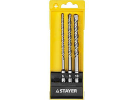 "Набор STAYER ""MASTER"": Буров по бетону, хвостовик ""SDS-Plus"", в боксе, (d=6, 8, 10)-160мм, 3шт"