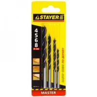 "Набор STAYER ""MASTER"" Свёрла по дереву, на карточке, 4;5;6;8мм; 4шт"