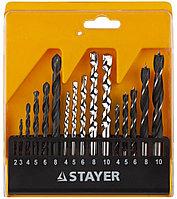 "Набор STAYER ""STANDARD"": Сверла комбинированные, дерево (4-5-6-8-10мм), металл (2-3-4-6-8мм), бетон (4-5-6-8-10мм), 16 предметов"