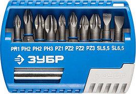 """Набор ЗУБР Биты """"ЭКСПЕРТ"""" с магнитным адаптером, Cr-Mo, PH1, PH2 (2шт), PH3, PZ1, PZ2 (2шт), PZ3, SL5, 5, SL6, 5, 11 пред"""