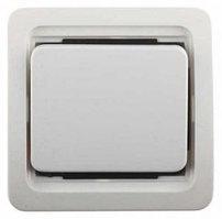 """Выключатель СВЕТОЗАР """"ГАММА"""" проходной одноклавишный, с подсветкой, цвет белый, 10А/~250В"""