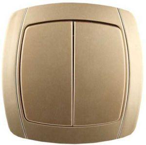 """Выключатель СВЕТОЗАР """"АКЦЕНТ"""" проходной одноклавишный в сборе, цвет золотой металлик, 10А/~250В"""