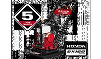 "Виброплита ЗУБР ""ПРОФЕССИОНАЛ"" прямого хода для грунта, бензин, 20кН, плита 610*460мм, двигатель Honda GX160 4"