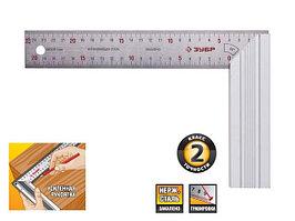 """Угольник ЗУБР """"ЭКСПЕРТ"""" столярный , усиленная алюминиевая рукоятка, нержавеющее полотно 37мм, длина 250мм"""