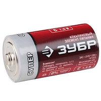 "Батарейка Зубр ""СУПЕР"" щелочная (алкалиновая), тип C, 1, 5В, 2шт на карточке"