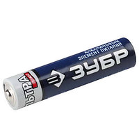 "Батарейка ЗУБР ""МАКС-ПЛЮС"" щелочная (алкалиновая), тип AAA, 1, 5В, 4шт на карточке"