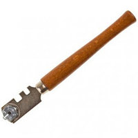 """Стеклорез STAYER """"PROFI"""" роликовый, 6 режущих элементов, с деревянной ручкой"""