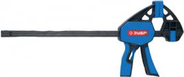 """Струбцина ЗУБР""""ЭКСПЕРТ""""ручная пистолетная, корпус нейлон, армир фиберглассом, двухкомп ручки, метал рейка, 450/645мм, 150кгс"""