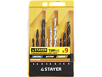 "Набор STAYER ""STANDARD"": Сверла комбинированные, дерево (4-6-8мм), металл (4-6-8мм), бетон (4-6-8мм), 9 предметов"