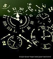 Трафарет часы для декупажа (размер 25*20см.)