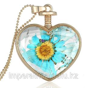 """Кулон с цепочкой """"Голубой цветок"""""""