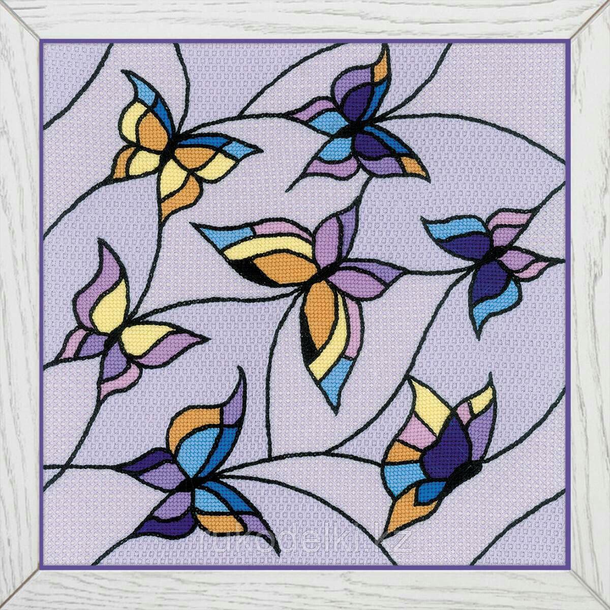"""Набор для вышивания крестом """"Подушка/панно """"Витраж.Бабочки"""""""