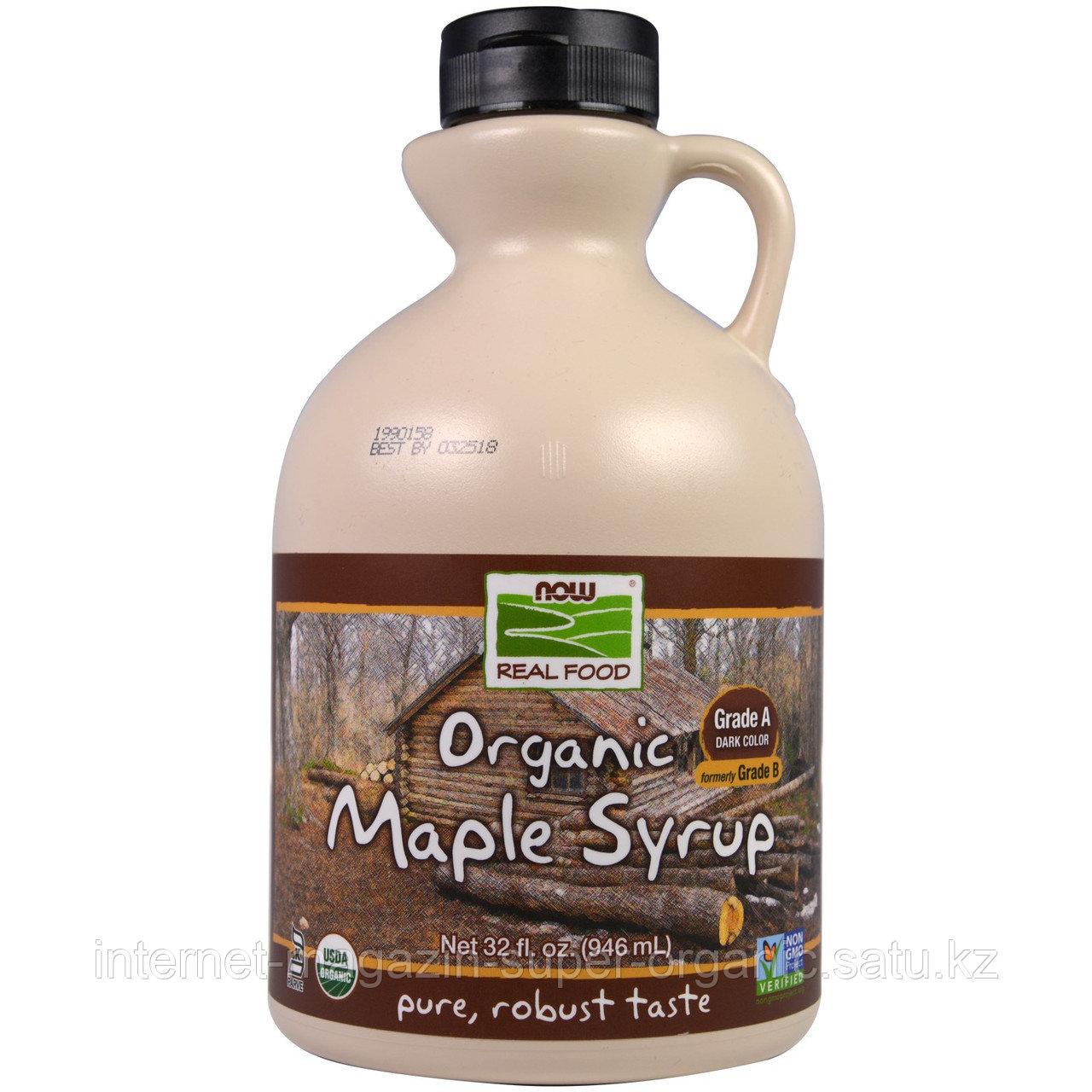 Кленовый сироп органический, класс А темного цвета, 946 мл., Now Foods, Real Food