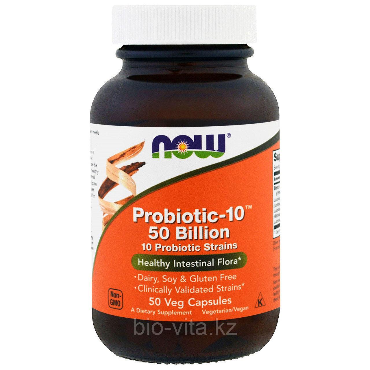 Now Foods, Пробиотик-10 видов бактерий 50 миллиардов в 1 капсуле, 50 шт.