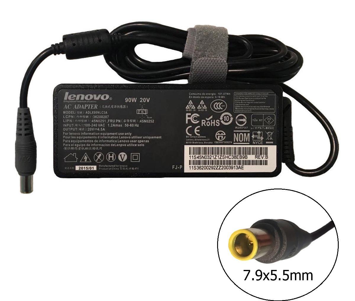 Блок питания для ноутбука Lenovo 20V 4.5A 90W 7.9x5.5 мм (оригинальный)