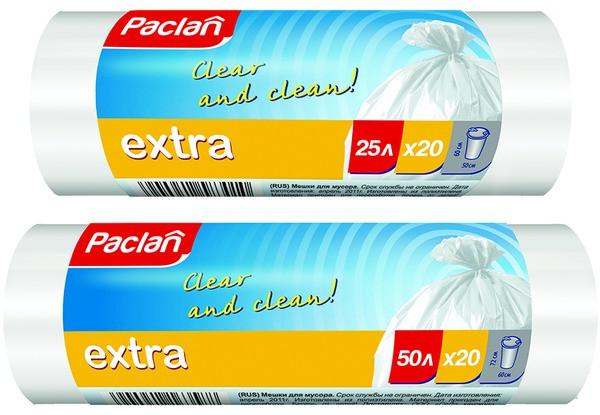 Пакеты для мусора Паклан - Paclan 25л/20шт рулон белые