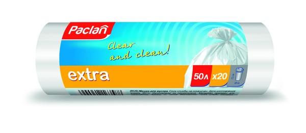 Пакеты для мусора Паклан - Paclan 50л/20шт рулон белые