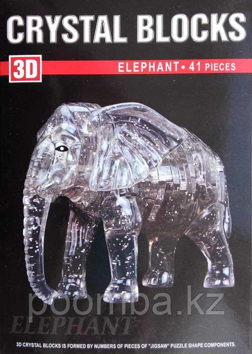 """Кристальный 3D пазл """"Слон"""", 41 дет."""