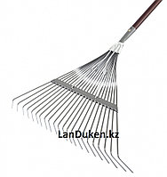 Веерные грабли с деревянным черенком стальные усилинные покрытые эпоксидом PALISAD LUXE 61790 (002)