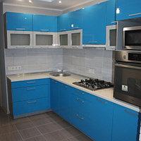 Угловая кухня в синем цвете, фото 1