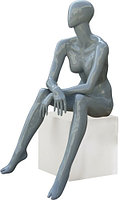 Манекен глянцевый серебристый сидячий