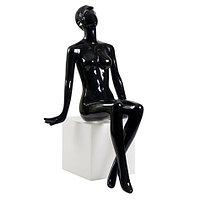 Манекен глянцевый черный сидячий