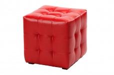 Пуфик детский дизайн квадратный, красный стильный цвет, кожаный мягкий производство Турция