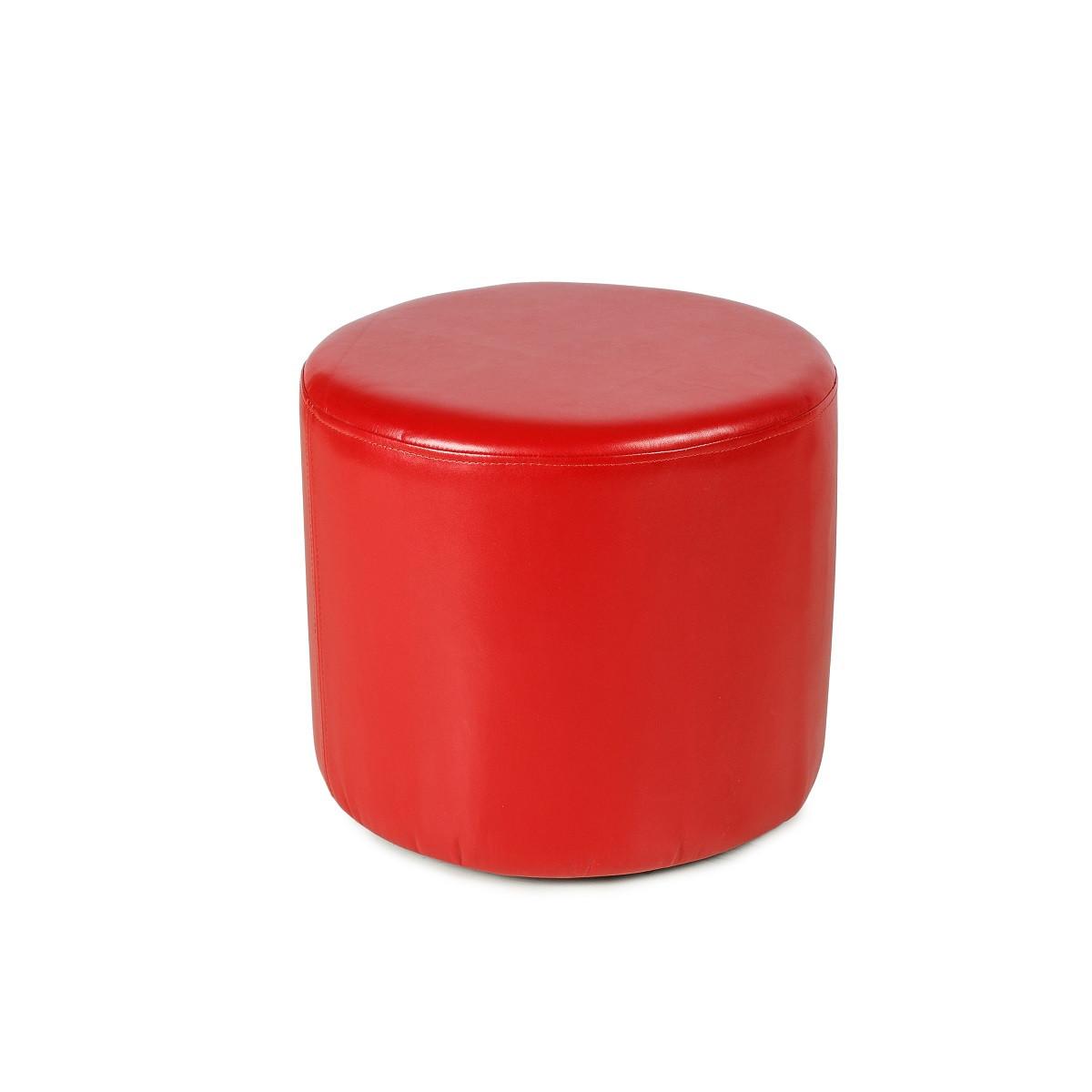 Пуфик размер 40*40 кожаный цвет красный круглый