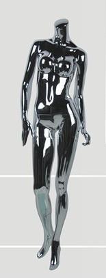 Манекен глянцевый серебристый, безголовый