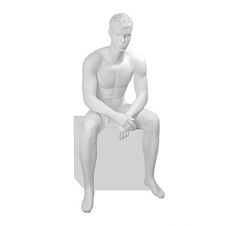 Манекен глянцевый белый сидячий
