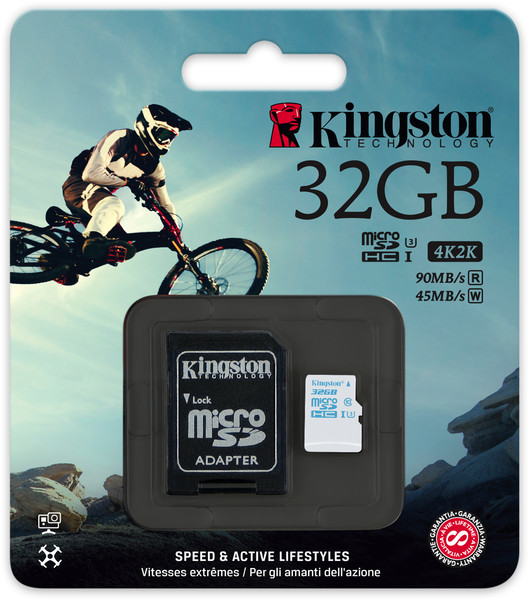 Карта памяти MicroSD 32GB Class 10 U3 Kingston SDCAC/32GB 90 MB/s, 600x