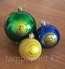 Нанесение логотипа на новогодних шарах