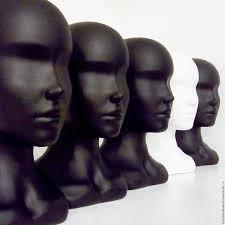 Голова-бюст женский глянцевый, серебро