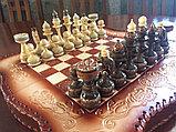 Шахматы-нарды из натуральной кожи 3 в 1, фото 4
