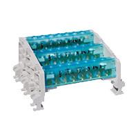 1-полюсный распределительный блок на Дин-рейку (6,5х9) 80А 10 отверстий 2х10 мм2 + 8х6 мм2