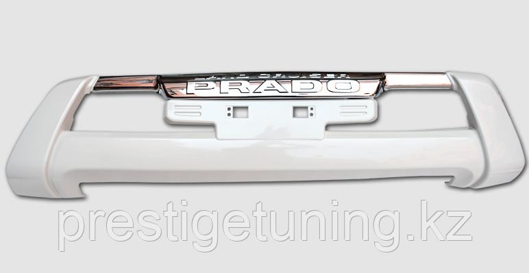 Накладка (губа) переднего бампера на Land Cruiser Prado 150 2014-17 Белый жемчуг (070)