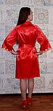 Женский атласный красный халат. , фото 2
