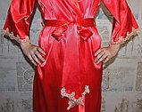 Женский атласный красный халат. , фото 4