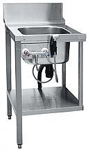 Стол предмоечный СПМП-6-1 имеет цельнотянутую ванну для предварительного ополаскивания посуды (400х400х250 мм)