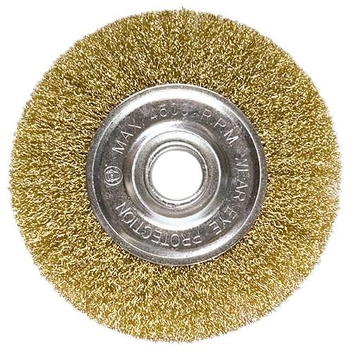 (74648) Щетка для УШМ, 100 мм, посадка 22,2 мм, плоская, латунированная витая проволока // MATRIX