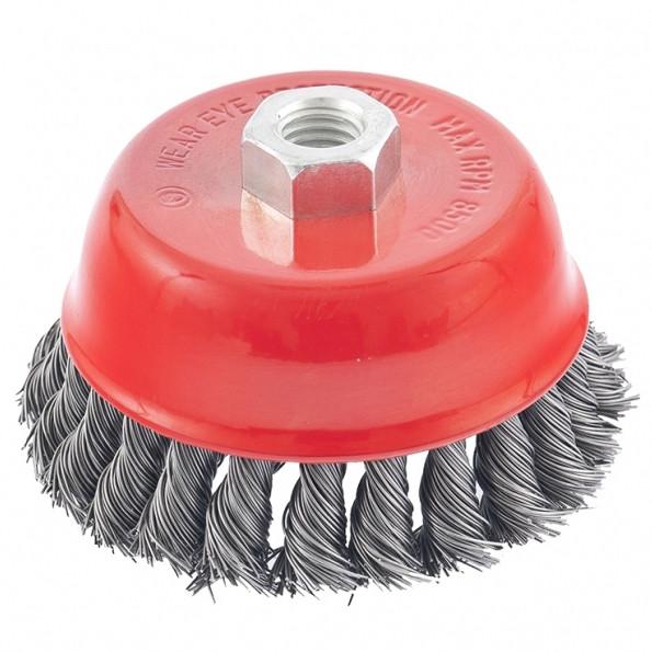 """(74628) Щетка для УШМ, 100 мм, М14, """"чашка"""", крученая металлическая проволока// MATRIX"""